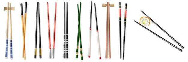 Essensstäbchen-set, küchenstäbchen und essgeschirr. realistische chinesische und japanische essstäbchen zum essen ostasiatischer speisen. vektor-illustration