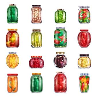 Essiggurken-satz von sechzehn isolierten einmachgläsern gefüllt mit mariniertem obst und gemüse illustration