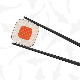 Essstäbchen, die sushirolle halten.