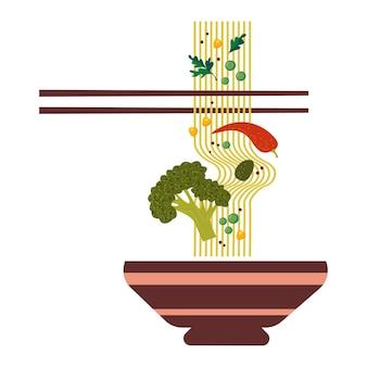 Essstäbchen halten fadennudeln mit gemüse traditionelles asiatisches essen vektor auf weißem hintergrund