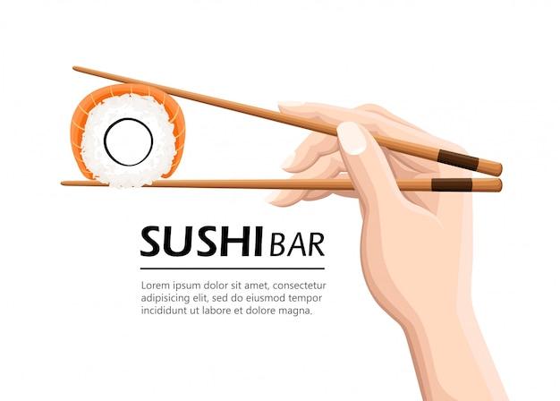 Essstäbchen halten sushi-rolle. konzept von snack, susi, exotischer ernährung, sushi-restaurant, meeresfrüchten. auf weißem hintergrund. moderne logoillustration