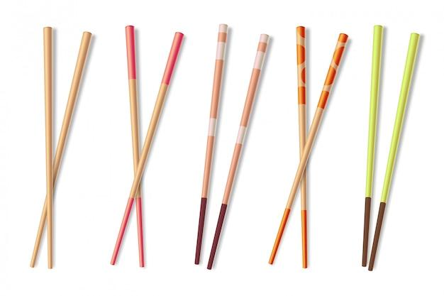 Essstäbchen. hölzerne asiatische essstöcke. lokalisierte illustration der chinesischen lebensmittelnahaufnahme des bambusses essstäbchen