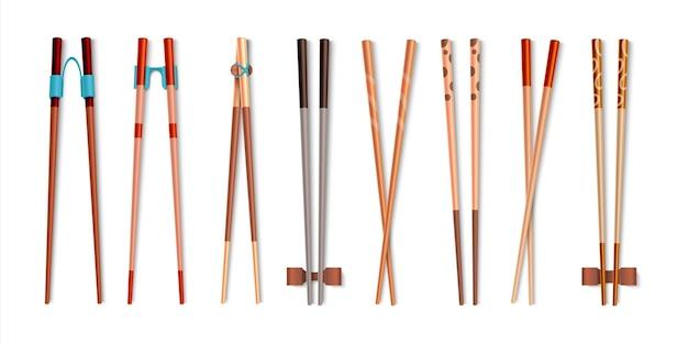 Essstäbchen. realistische 3d-bambusstöcke.