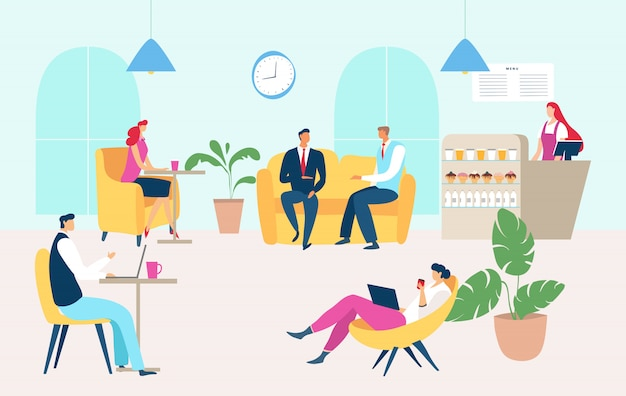 Esszeit der arbeitenden leute im firmencafé, illustration. cafeteria für angestellte, mann frau leute entspannen sich auf der couch