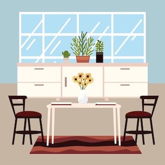 Esszimmer mit stühlen und tisch