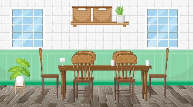 Esszimmereinrichtung mit möbeln Kostenlosen Vektoren