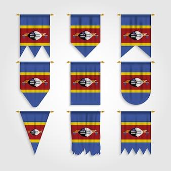 Eswatini flagge in verschiedenen formen, flagge von eswatini in verschiedenen formen