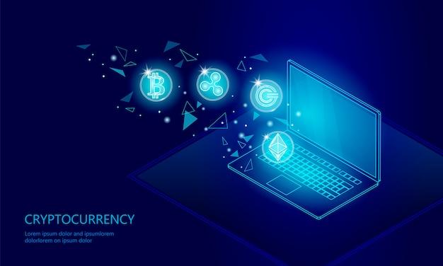 Ethereum bitcoin-kräuselungsmünze digitales kryptowährungslaptop-pc-zellennetz
