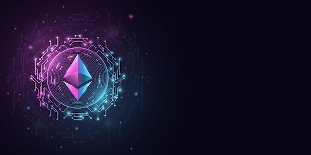 Ethereum-kryptowährung. digitale münze für die website-präsentation. vektor-blockchain für grafikdesign