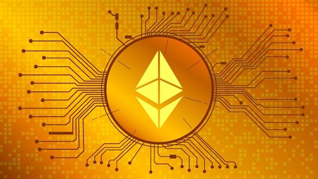 Ethereum-kryptowährungs-token-symbol, eth-münzensymbol im kreis mit platine auf goldgrund. digitales gold im techno-stil für website oder banner. vektor-eps10.