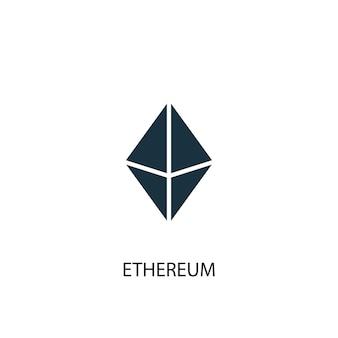 Ethereum-symbol. einfache elementabbildung. ethereum-konzeptsymboldesign. kann für web und mobile verwendet werden.