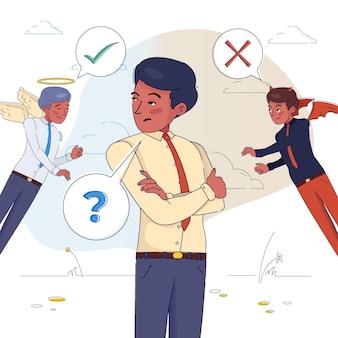 Ethische dilemma-illustration mit mann, der zwischen gut und böse wählt