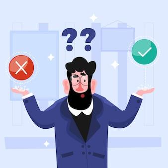 Ethische dilemma-illustration mit mann, der zwischen richtig oder falsch wählt