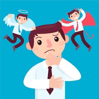 Ethische dilemmaillustration des flachen entwurfs mit engel und teufel