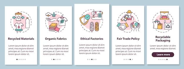 Ethische produktion onboarding mobile app seite bildschirm mit konzepten. recyceltes material. fair trade walkthrough schritte grafische anweisungen. ui-vorlage mit rgb-farbabbildungen
