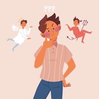 Ethischer dilemma-konzeptmann mit engel und teufel auf seinen schultern