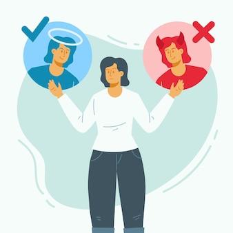 Ethischer dilemma weiblicher erwachsener mit engel und dämon