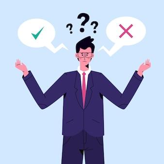 Ethisches dilemma des flachen entwurfs mit mann