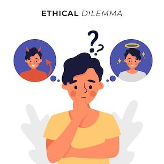 Ethisches dilemma wundernde person mit engel und dämon
