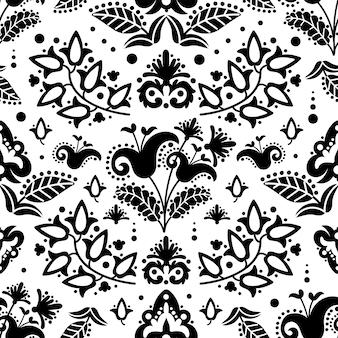 Ethnic tatar black oriental ornament doodle folk nahtloses muster vektor-illustration für druckgewebe und digitales papier