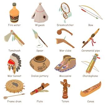 Ethnische amerikanische ikonen der inder eingestellt. isometrische illustration von 16 ethnischen amerikanischen vektorikonen der inder für netz