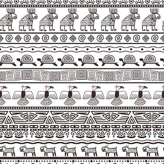 Ethnische azteken oder peruanische musterschablone. stammes- gewebe der schwarzen ränder des vektors mit indianer