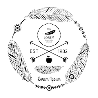 Ethnische federn-label