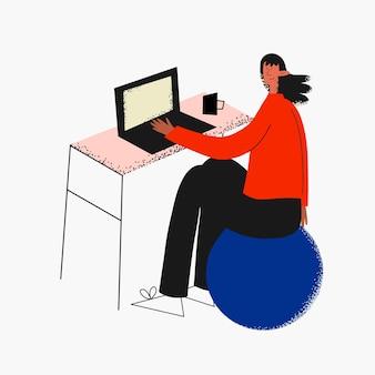 Ethnische frau, die zu hause am computer arbeitet