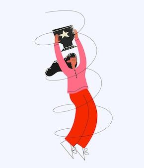 Ethnische geschäftsfrau freut sich über den erfolg mit einer tasse in der hand