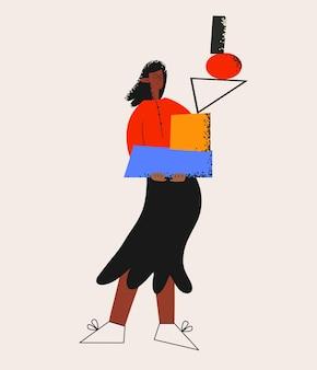Ethnische geschäftsfrau mit abstrakten geometrischen formen