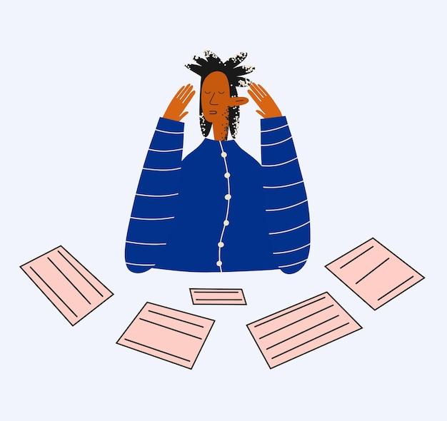 Ethnische geschäftsfrau umgeben von dokumenten