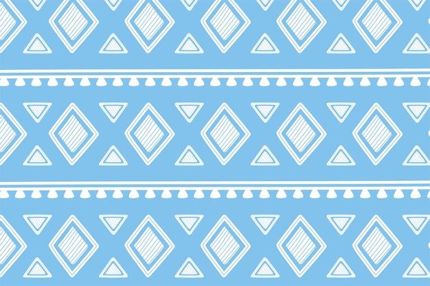 Ethnische handgemachte, blaue formen geometrische stammesverzierungs-tapetenvektorillustration
