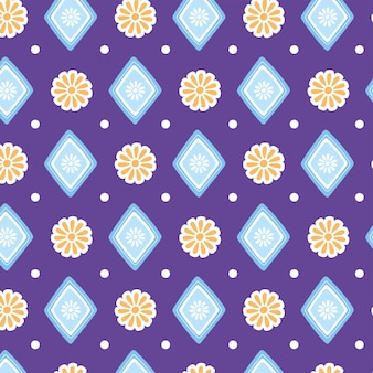 Ethnische handgemachte, nahtlose musterblumen geometrische dekoration textilvektorillustration