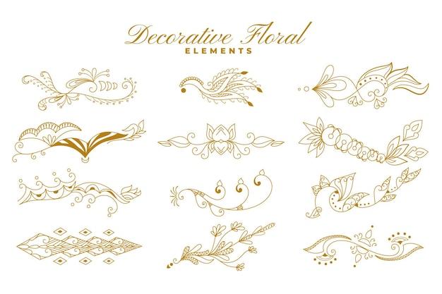 Ethnische indische blumenart verziert dekorationssammlung