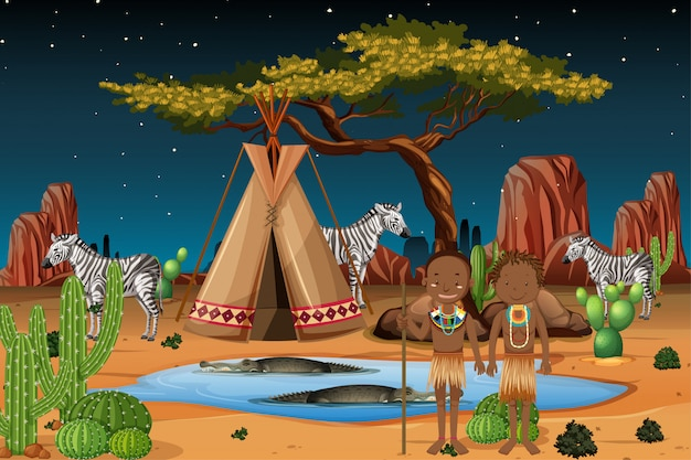 Ethnische leute afrikanischer stämme in traditioneller kleidung im naturhintergrund