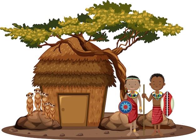 Ethnische menschen afrikanischer stämme in traditioneller kleidung