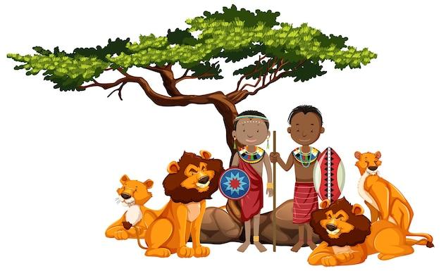 Ethnische menschen afrikanischer stämme und wilder tiere