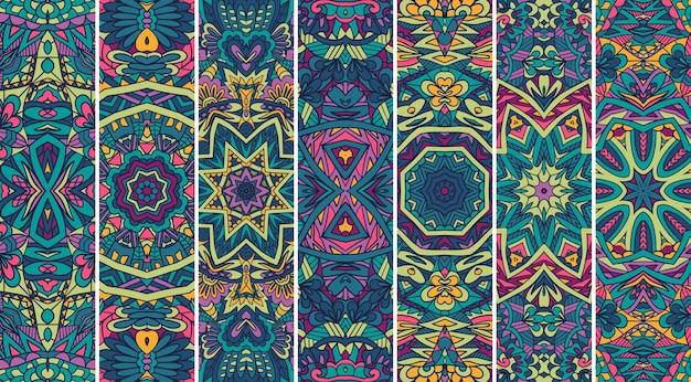 Ethnische stammes-geometrische banner-sammlung mit mandala-kunst in leuchtenden farben