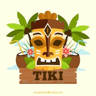 Ethnische tiki maske mit palmen und kokosnüssen