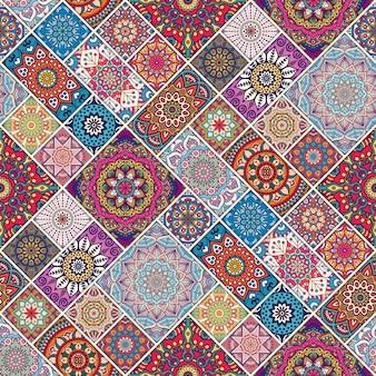 Ethnischen floralen nahtlose muster zusammenfassung ornamentalen muster mandala