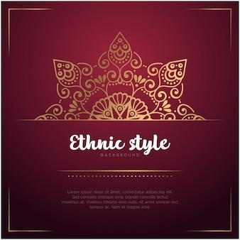 Ethnischer arthintergrund mit mandala- und textschablonen-, roter und goldenerfarbe