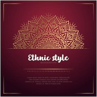 Ethnischer artkartenhintergrund mit mandala- und textschablonen-, roter und goldenerfarbe