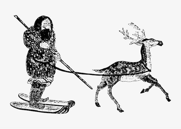 Ethnischer eskimo mit hirsch