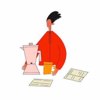 Ethnischer geschäftsmann, der während einer arbeitspause kaffee zubereitet