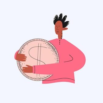 Ethnischer geschäftsmann mit einer dollarmünze in seinen händen