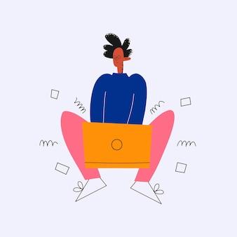 Ethnischer geschäftsmann tippt aktiv auf einem laptop im lotussitz