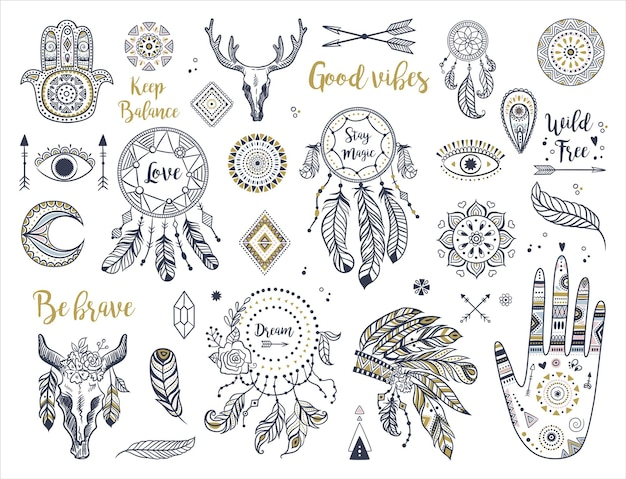 Ethnisches boho-set mit hand, mond, traumfängern, hamsa, kopfschmuck, federn, pfeilen, auge und anderen böhmischen elementen.