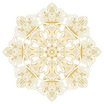 Ethnisches dekoratives gestaltungselement. mandala-symbol. runde abstrakte blumenverzierung.