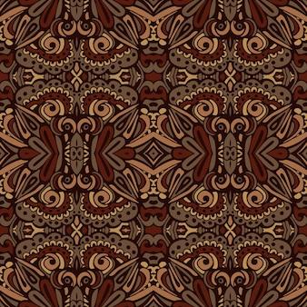 Ethnisches nahtloses design der afrikanischen stammesblume. folk ethnisches indisches geometrisches dekoratives nahtloses muster. brown damast ikat muster