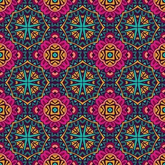 Ethnisches nahtloses design der indischen stammesblume. festliche bunte mandalamusterverzierung
